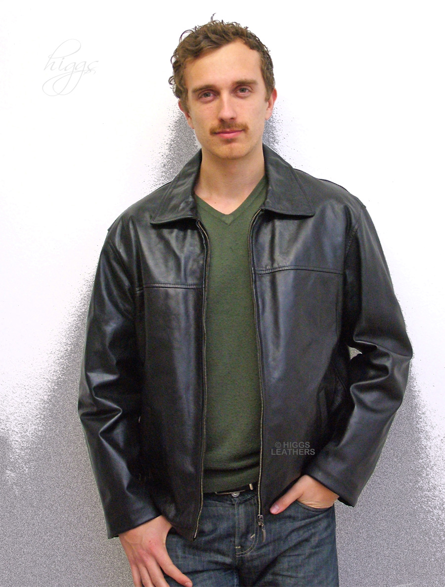 Higgs Leathers ALL SOLD SIZE 42'!  Zack (black leather biker jackets for men)