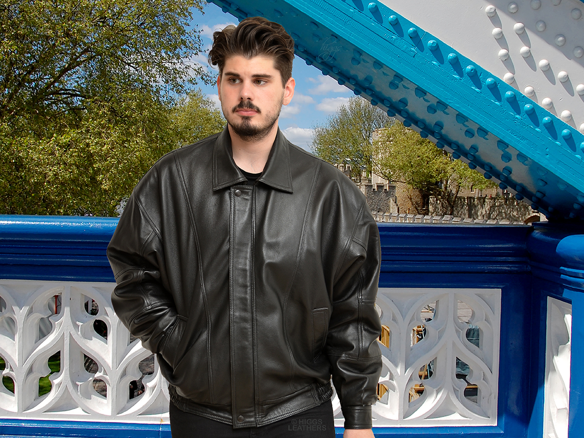 Higgs Leathers {ALL SOLD!}  Blaine (Plus Size black leather jackets) SPECIAL DESIGN PLUS SIZE BLACK LEATHER BLOUSON JACKETS FOR MEN!