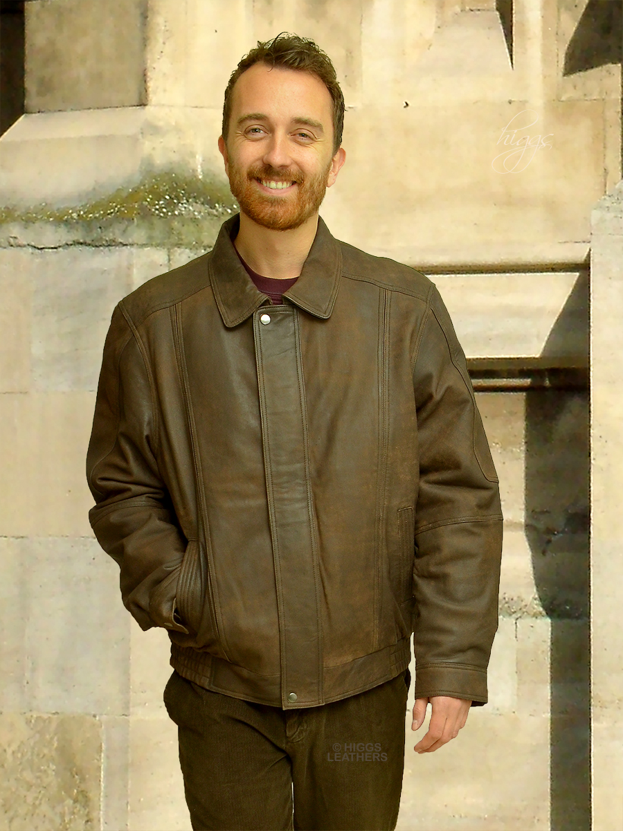 Higgs Leathers {NEW PICTURE!}  Charles (Brown Nubuck Leather jackets for men)
