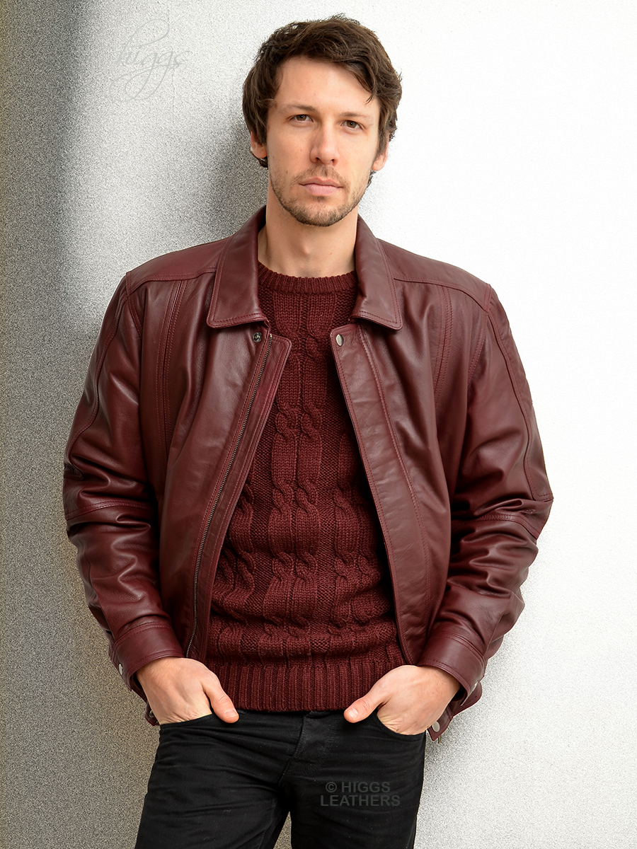 Higgs Leathers Charles (blouson style men's Burgundy leather jackets) SIZES UP TO 50' CHEST!