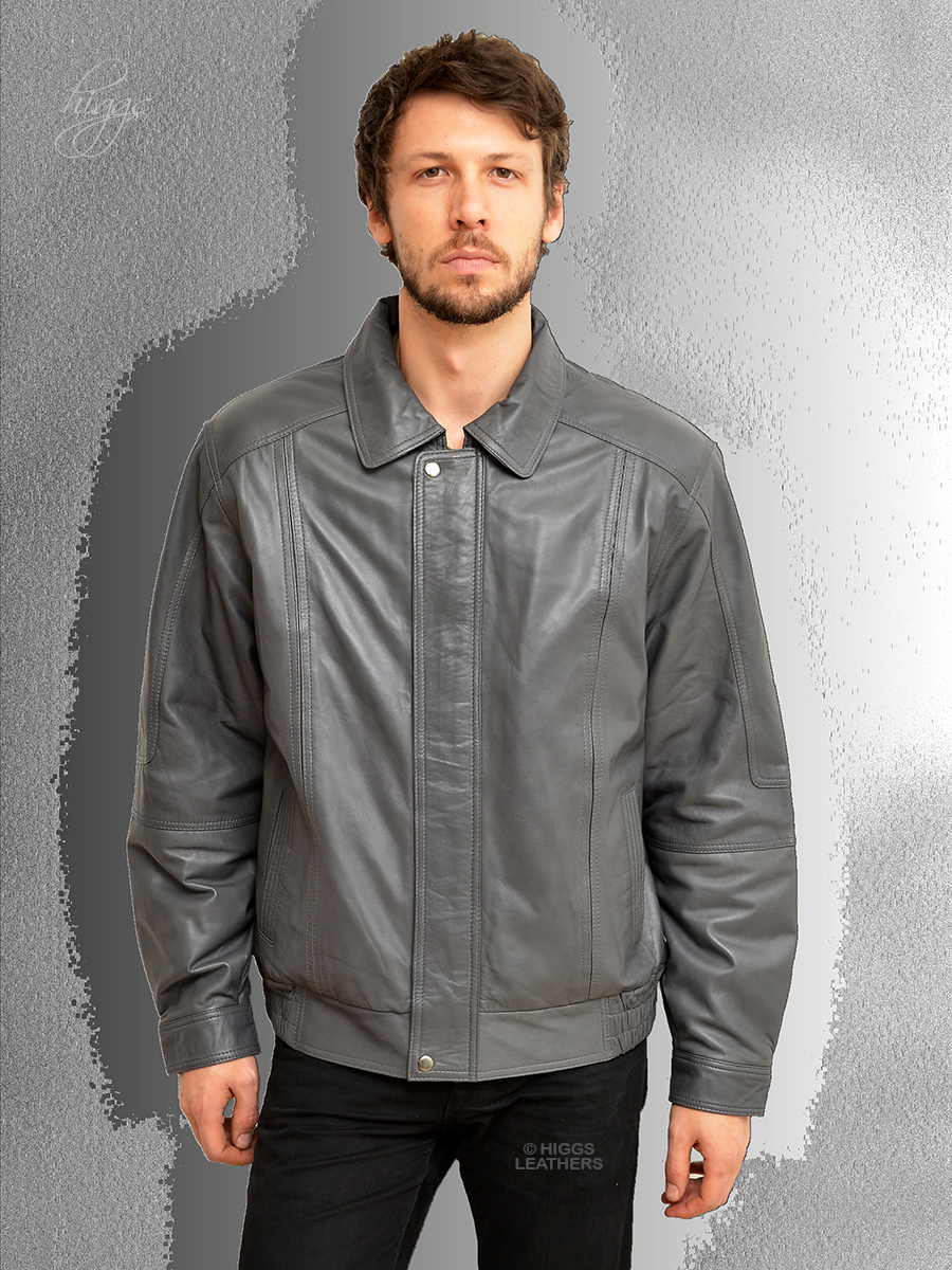 Higgs Leathers Charles (blouson style men's Grey Leather jackets)  SIZES FROM 38' TO 46' CHEST!