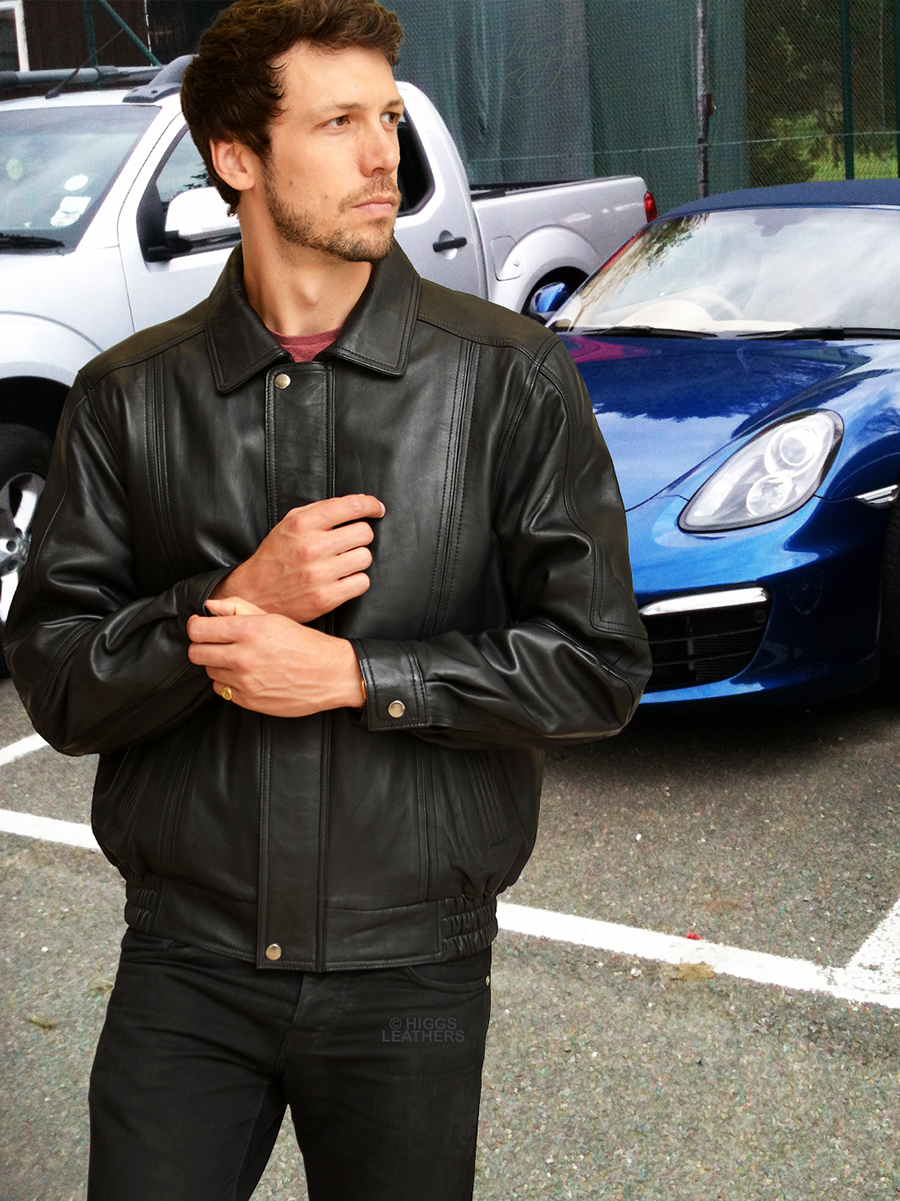 Higgs Leathers Charles (Black Leather Blouson jackets for men) SIZES UP TO 54' CHEST!