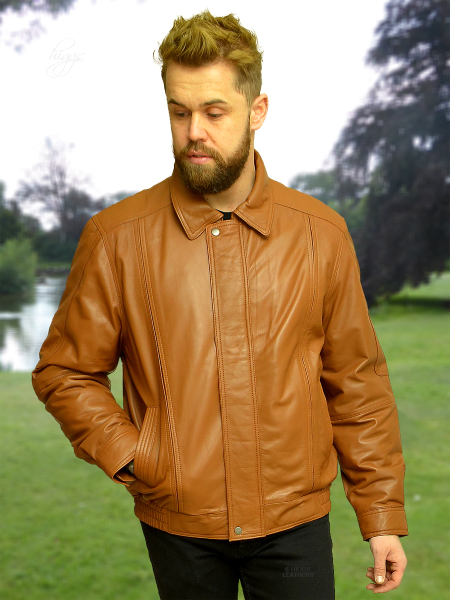 Higgs Leathers {FEW ONLY!}  Charles (blouson style Tan Leather jacket for men)