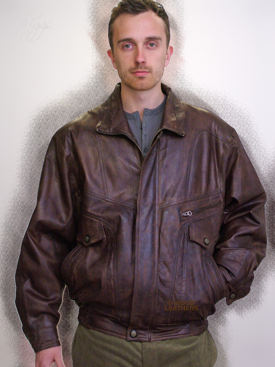 Higgs Leathers {FEW ONLY!}  Jerry (men's Antique Brown Leather blouson jackets) From our wonderful selection of brown leather jackets for men!