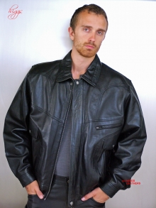 Higgs Leathers LAST FEW!  Jerry (blouson style men's black leather jackets)