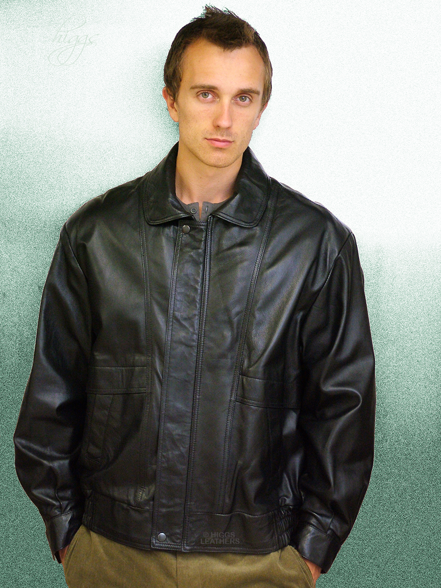 Higgs Leathers Kurt (men's Black Leather Blouson jackets) From our wonderful selection of Leather Blouson style jackets for men.