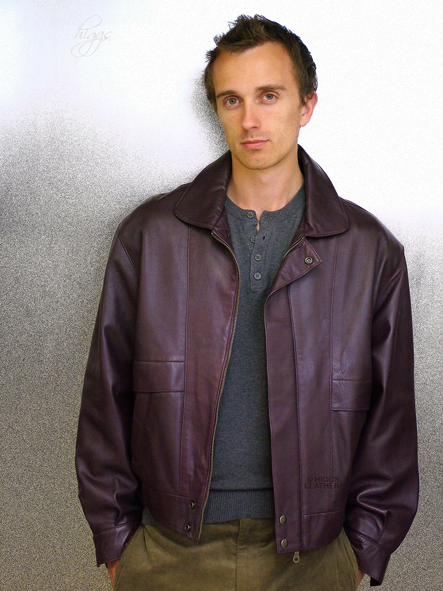Higgs Leathers LAST FEW! Kurt (men's Burgundy Leather Blouson jackets)  From our wide range of Leather Blouson jackets for men.