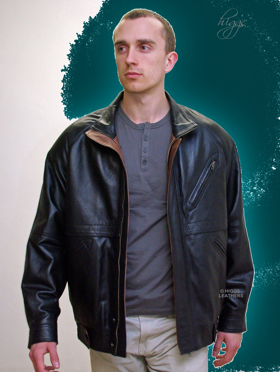 Higgs Leathers Zarak (men's Designer Black Leather Blouson jackets SIZES UP TO 50' CHEST!