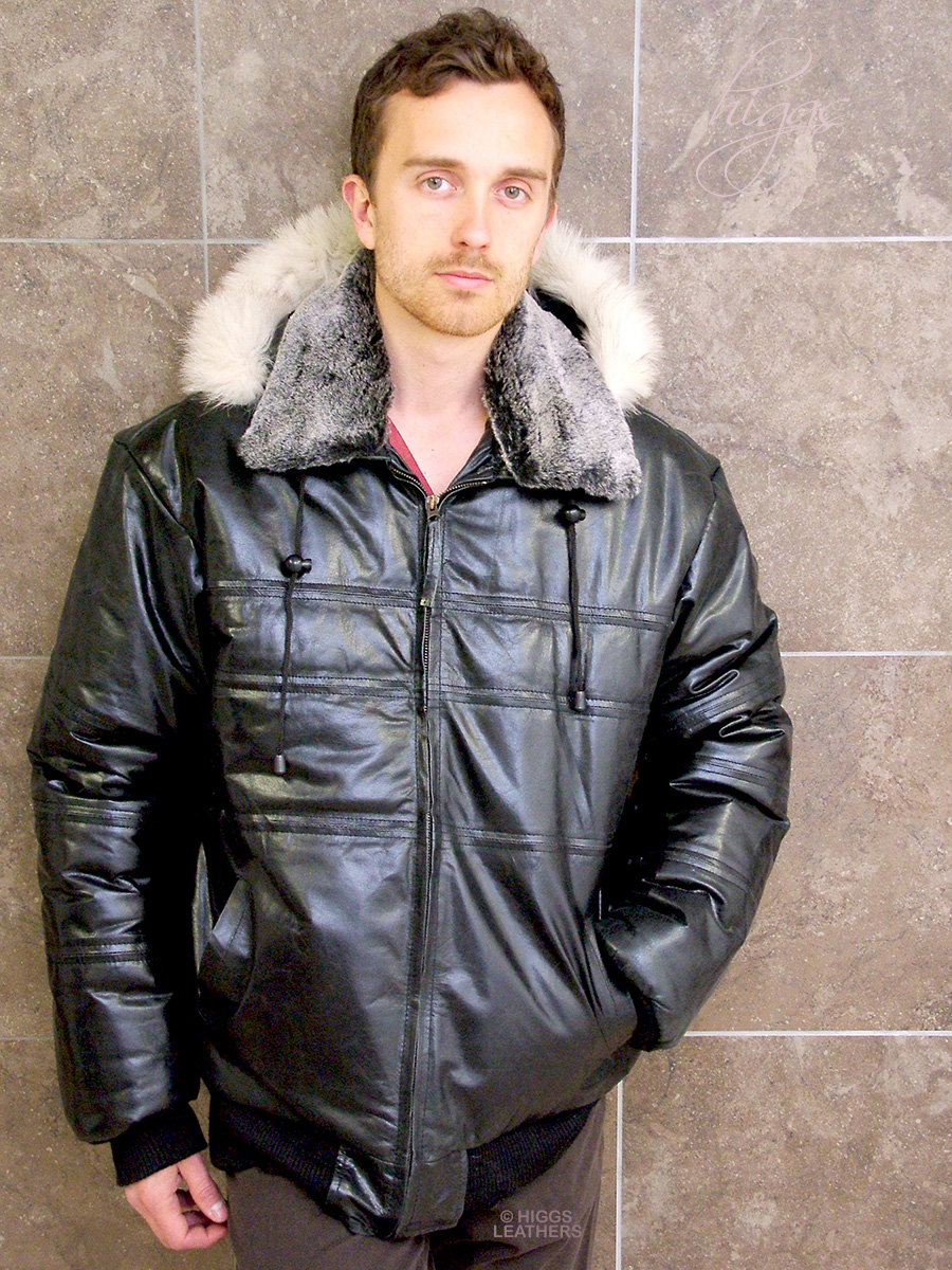 Higgs Leathers {ONE ONLY!}  Bernon (men's Hooded Black Leather Bomber jackets) Ultimate WARMTH!