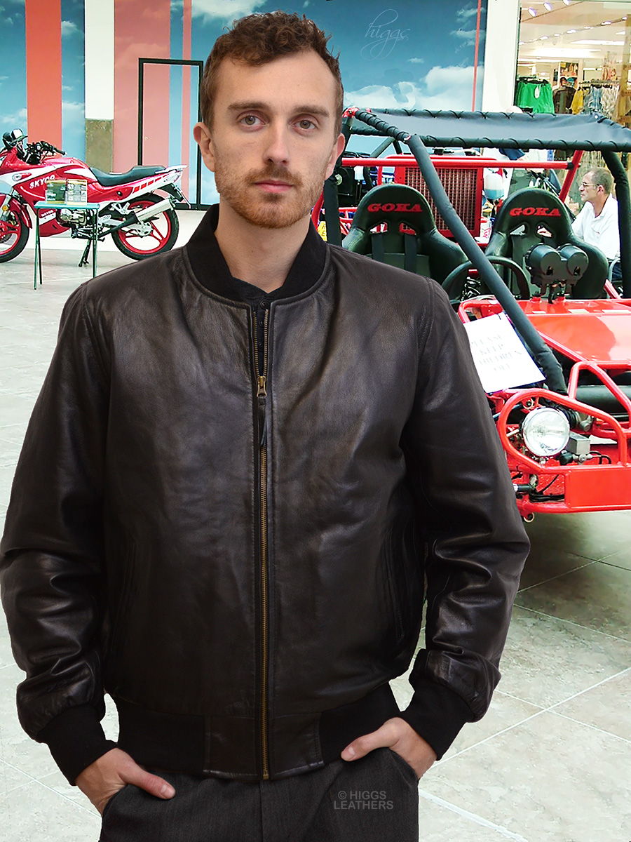 Higgs Leathers {ALL SOLD!}  Bradley (Black Leather Bomber jackets for men)