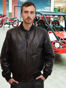 Higgs Leathers ALL SOLD!  Bradley (Black Leather Bomber jackets for men)