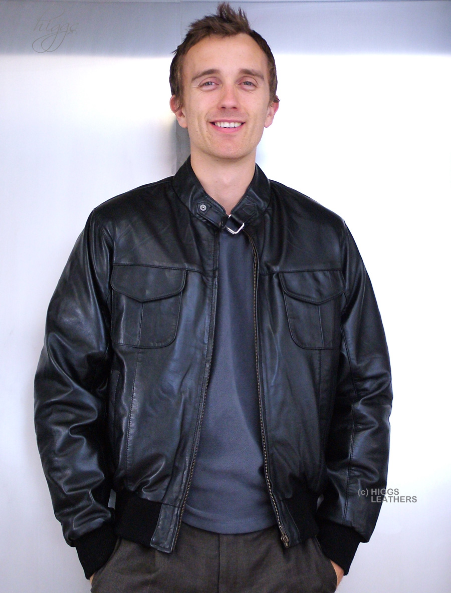 Higgs Leathers {NEW STOCK!}  Hodder (mens black leather bomber jackets)