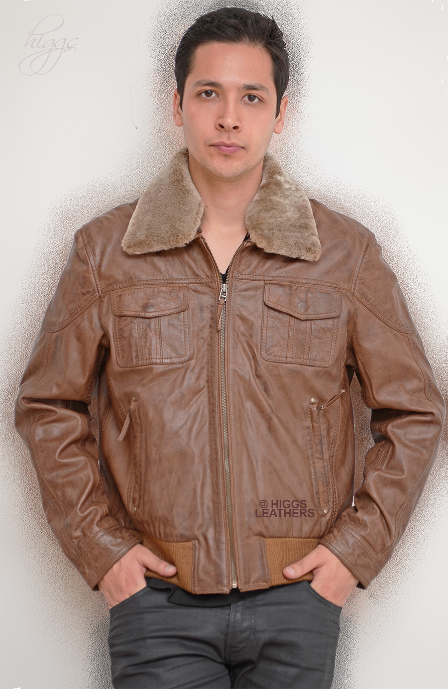 Higgs Leathers {SOLD!}  Molech  (Man's Leather Bomber jacket) ONE ONLY - 42' CHEST!