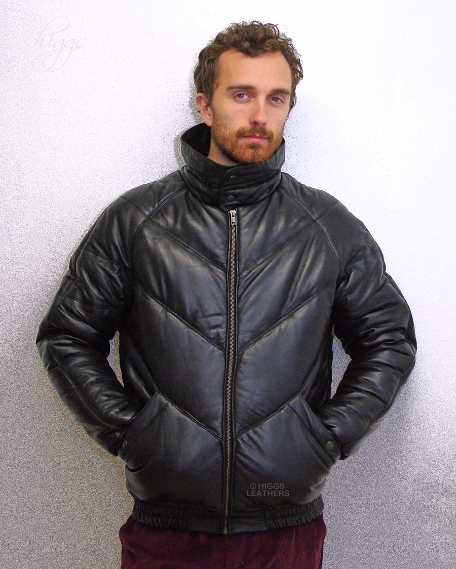 Higgs Leathers Padre LAST ONE!(men's Black Leather Puffa jackets)