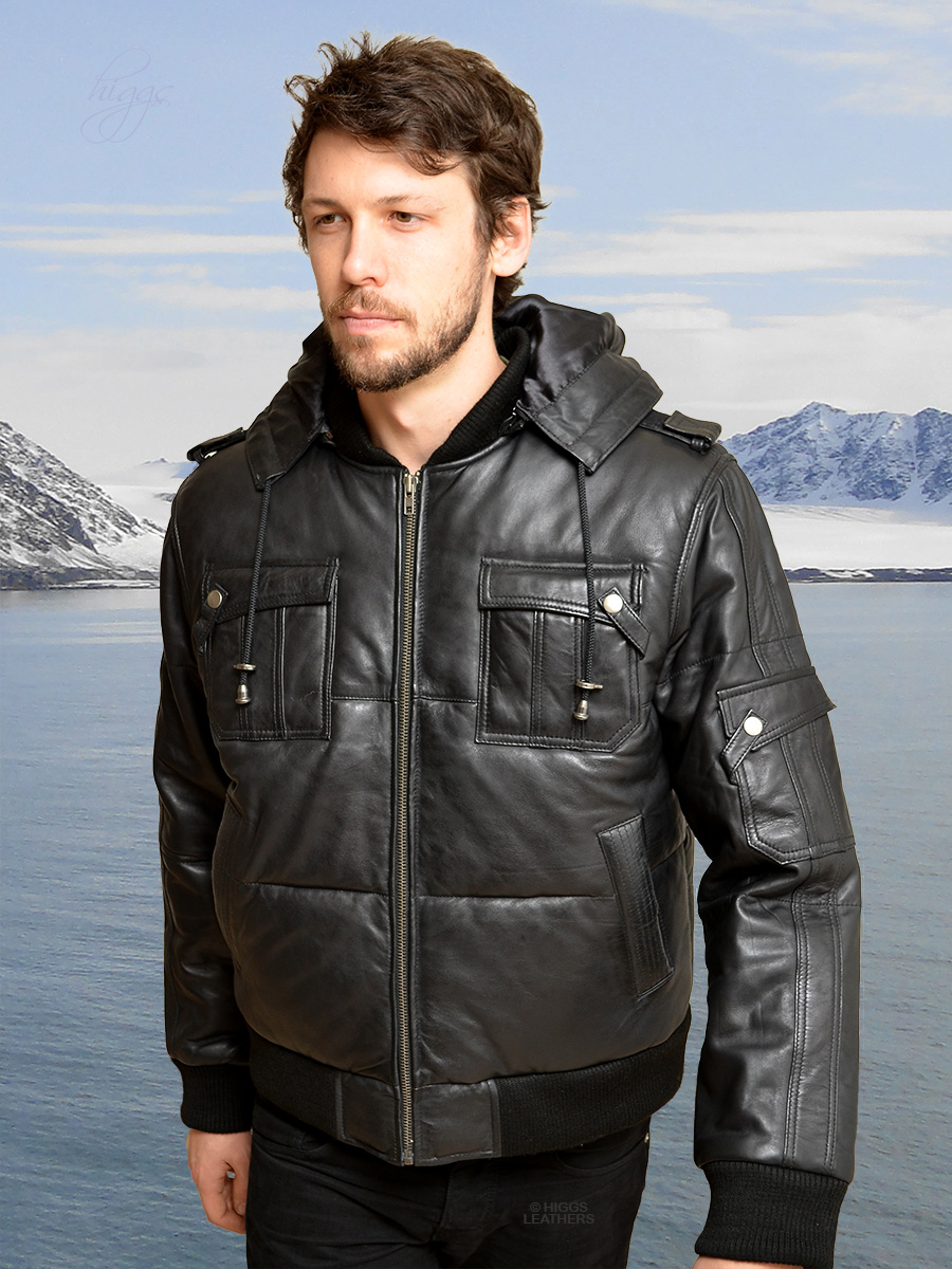 Higgs Leathers {ALL SOLD!}  Patrick (men's Padded Hooded Black Leather Bomber jackets) LIMITED OFFER WHILE STOCKS LAST!