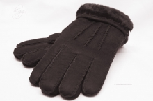 Higgs Leathers ALL SOLD!  Glen (men's Dark Brown Sheepskin gloves)