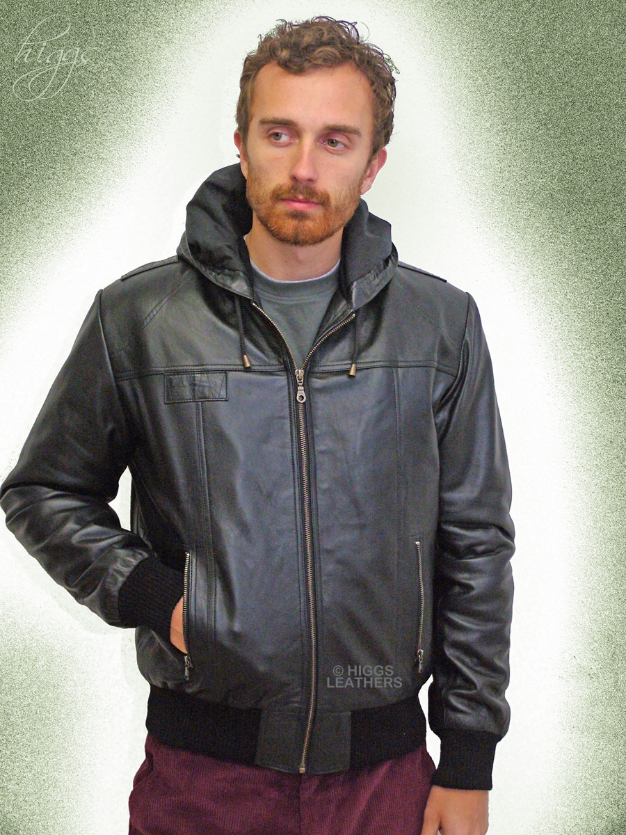 Higgs Leathers {UP TO 50' chest!}  Holt (hooded Black Leather Bomber jacket) Special quality hooded leather jackets for men!