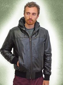 Higgs Leathers NEW!  Holt (hooded Black Leather jackets for men)