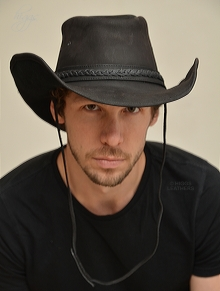 Higgs Leathers ALL SOLD!Bandit (black Leather cowboy hats for men)