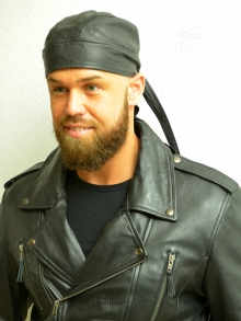 Higgs Leathers ALL SOLD!  Bandito (unisex black leather bandanna)