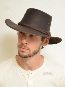 Higgs Leathers LAST ONE!  Bushman (men's Outback style Leather hats)