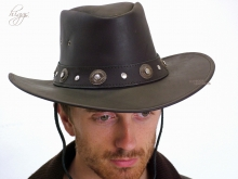 Higgs Leathers ALL SOLD!Utah (men's brown leather cowboy hats)