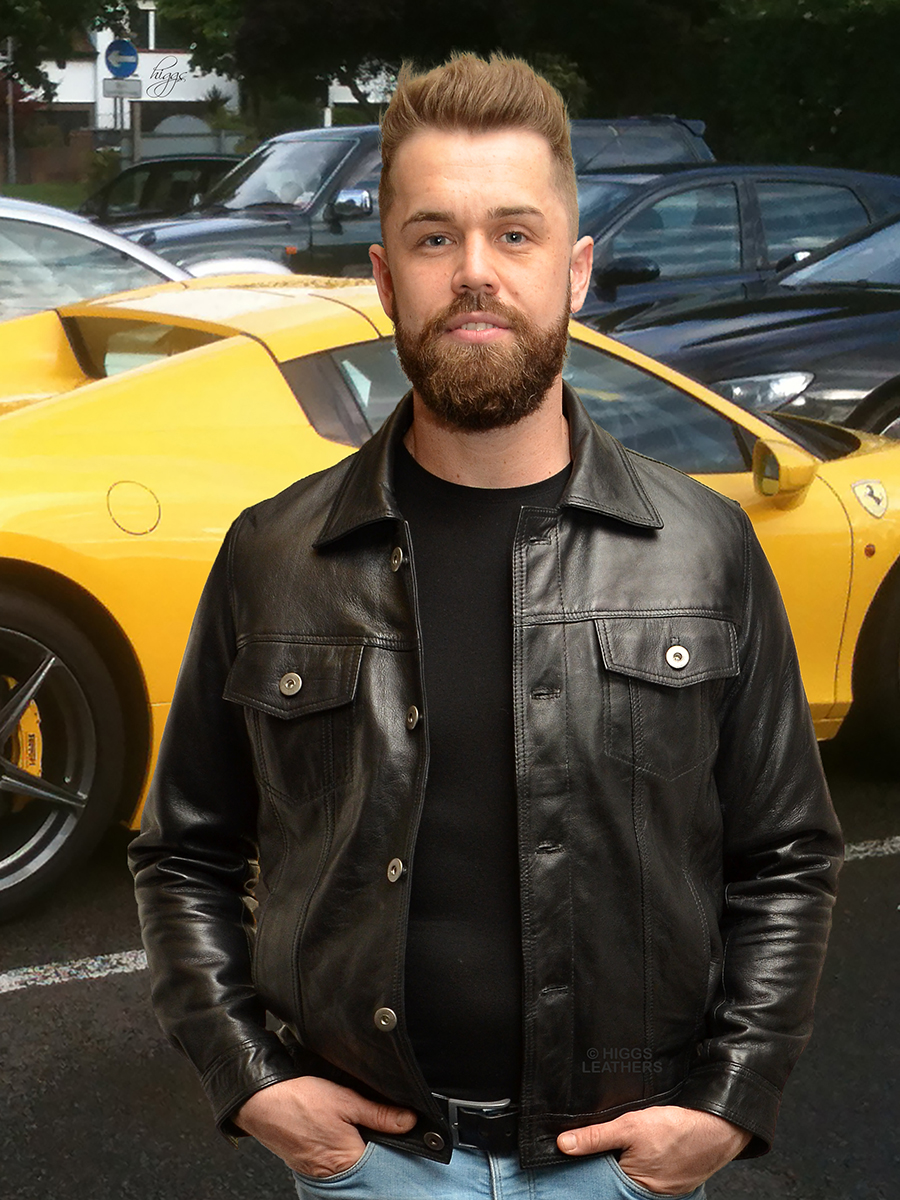 Higgs Leathers {NEW STOCK!}  Marlon (men's Black Leather Jeans jackets) LIMITED OFFER WHILE STOCKS LAST!