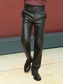Higgs Leathers Tommy (Black Leather Trousers/Pants for men)