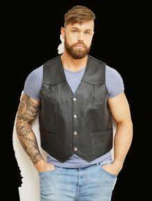 Higgs Leathers LAST FEW!  Tracker (Black Leather vests for men)
