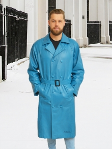 Higgs Leathers NEW!  Belgrave (men's Blue Leather Trench Coat)