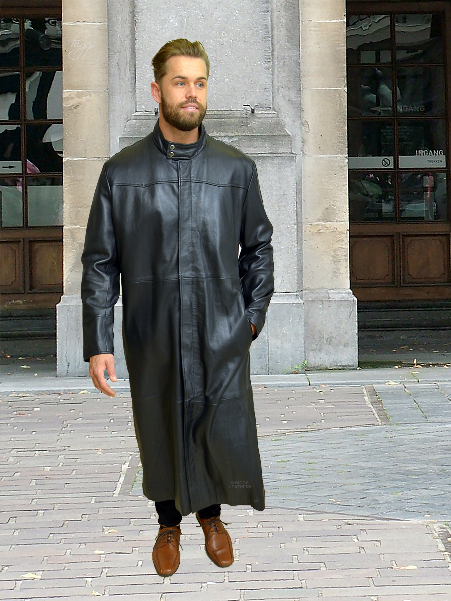Higgs Leathers {ONE ONLY SAVE £100!} Mathias (extra long Black Leather coats for men)