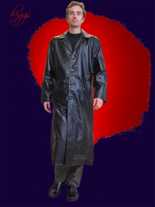 Higgs Leathers LAST FEW!  Morpheus (Matrix style Black Leather Coats for men)