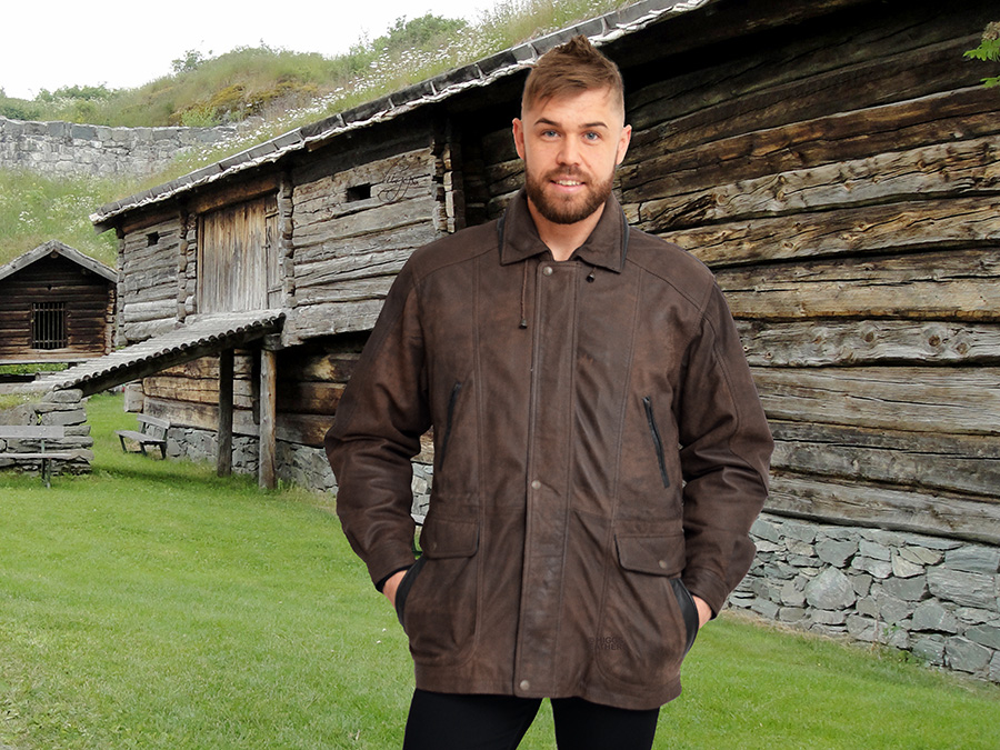 Higgs Leathers {NEW!}  Adrian   (Brown Leather Parka jackets for men)  Perfect for winter wear!