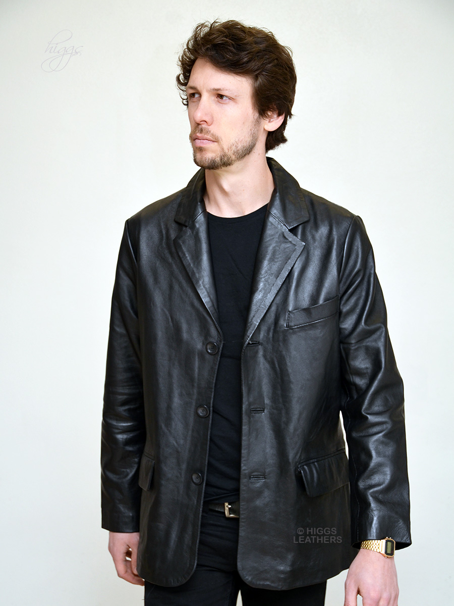 Higgs Leathers {LAST TWO!} Alfie  (men's Black Leather Retro suit jackets)