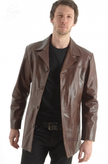 Higgs Leathers HALF PRICE!  Alroy (men's Brown Leather long jacket) SOLD!