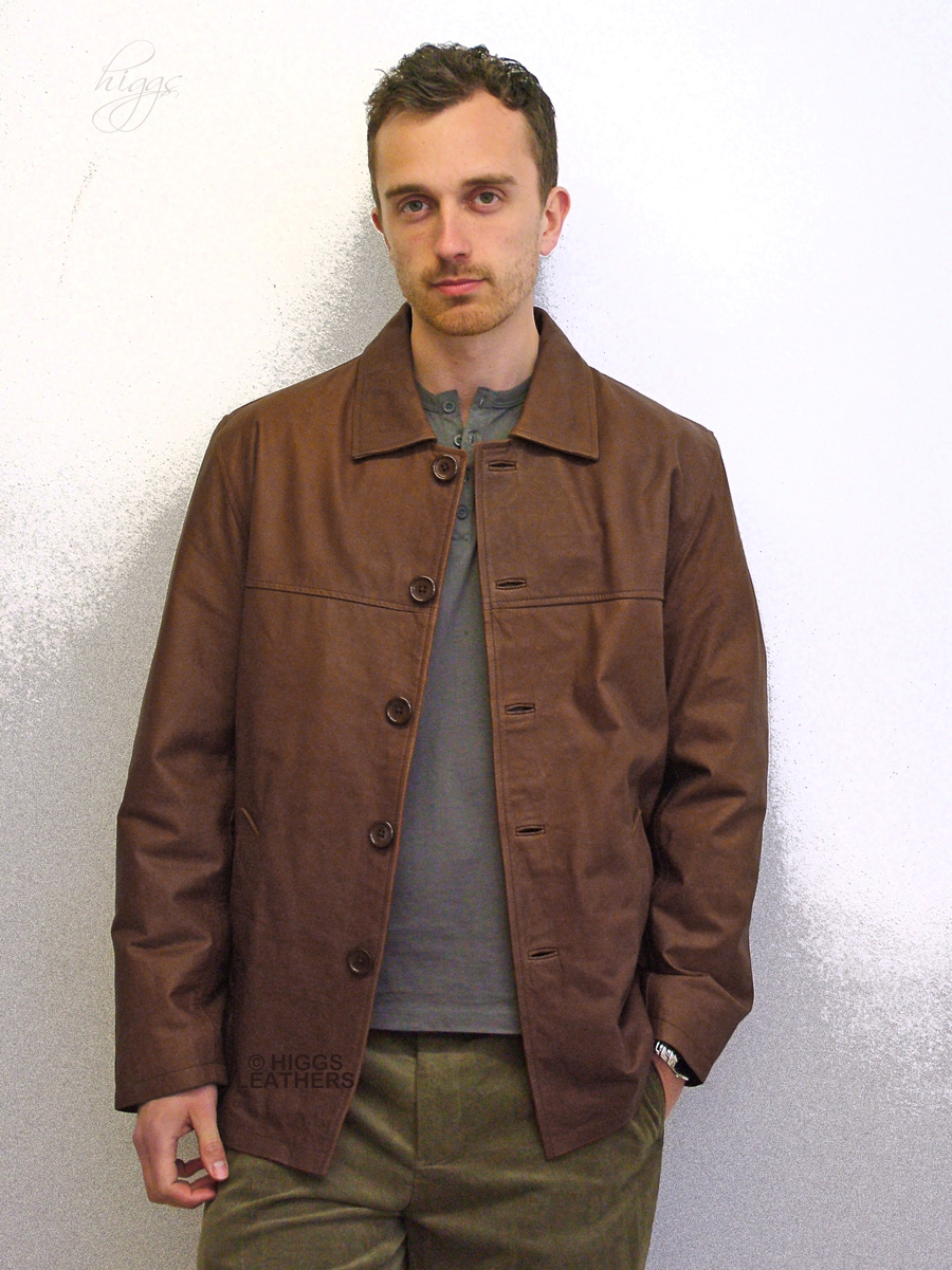 Higgs Leathers Bernie (men's Tan waxy leather jackets