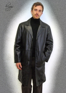 Higgs Leathers ALL SOLD! Brooker (7/8th. length black leather jackets for men)