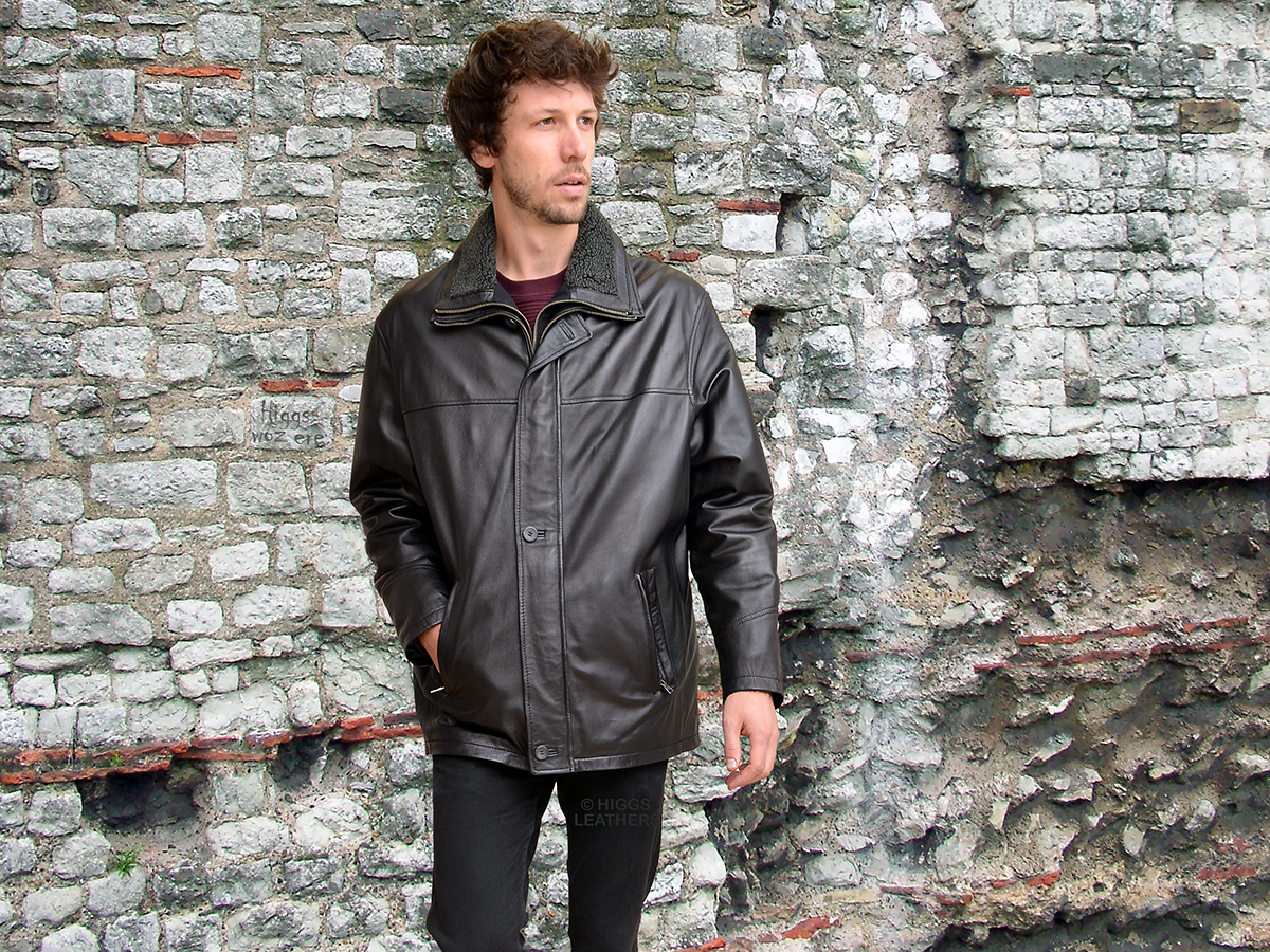 Higgs Leathers {NEW!}  Epson   (men's warm lined Black Leather Car Coats) A perfect winter jacket!