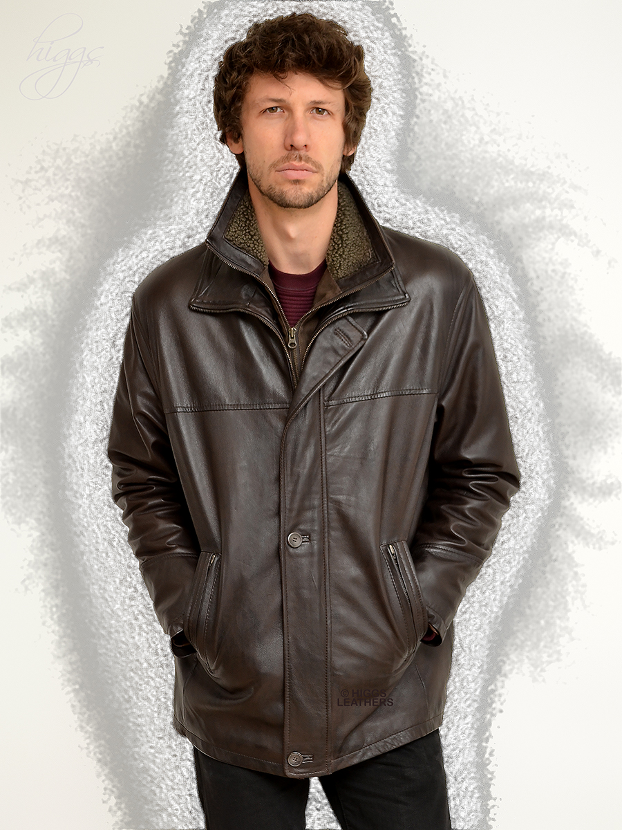 Higgs Leathers {NEW!}  Epson   (men's warm lined Dark Brown Leather Car Coats) Light weight - Warm - Hard wearing - The perfect winter jacket!