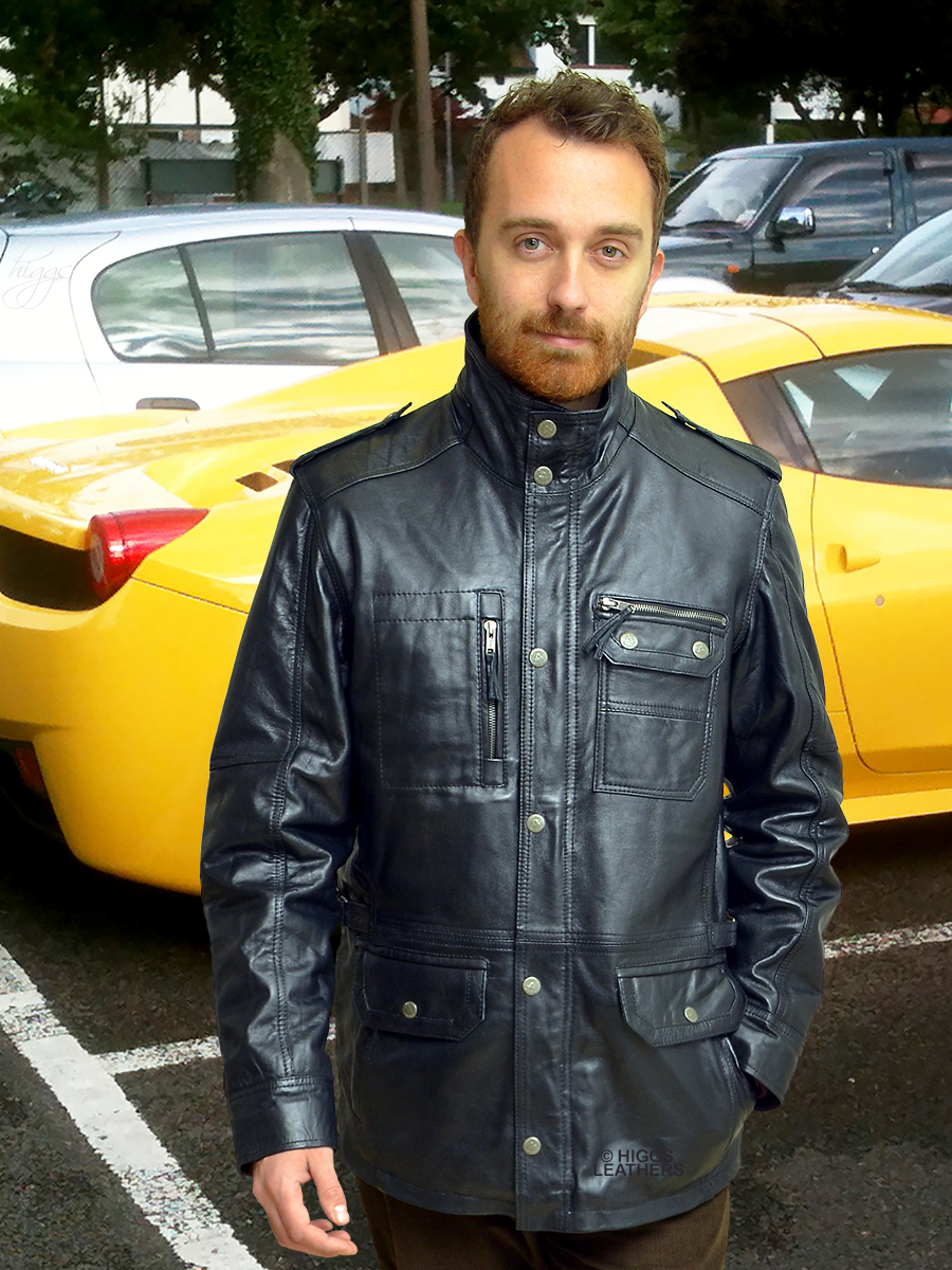 Higgs Leathers {LAST ONE SAVE £100!}  Kingsland (Black Leather Parka jackets for men)