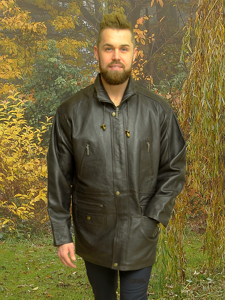 Higgs Leathers {FEW ONLY SAVE £80!}  Michael (men's dark brown leather Parka jacket)