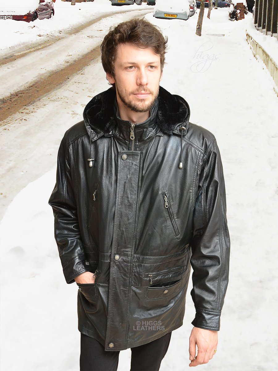 Higgs Leathers {LAST FEW!}  Mike (Black Leather Duffel Coats for men) Wonderful value - Wonderfully WARM!