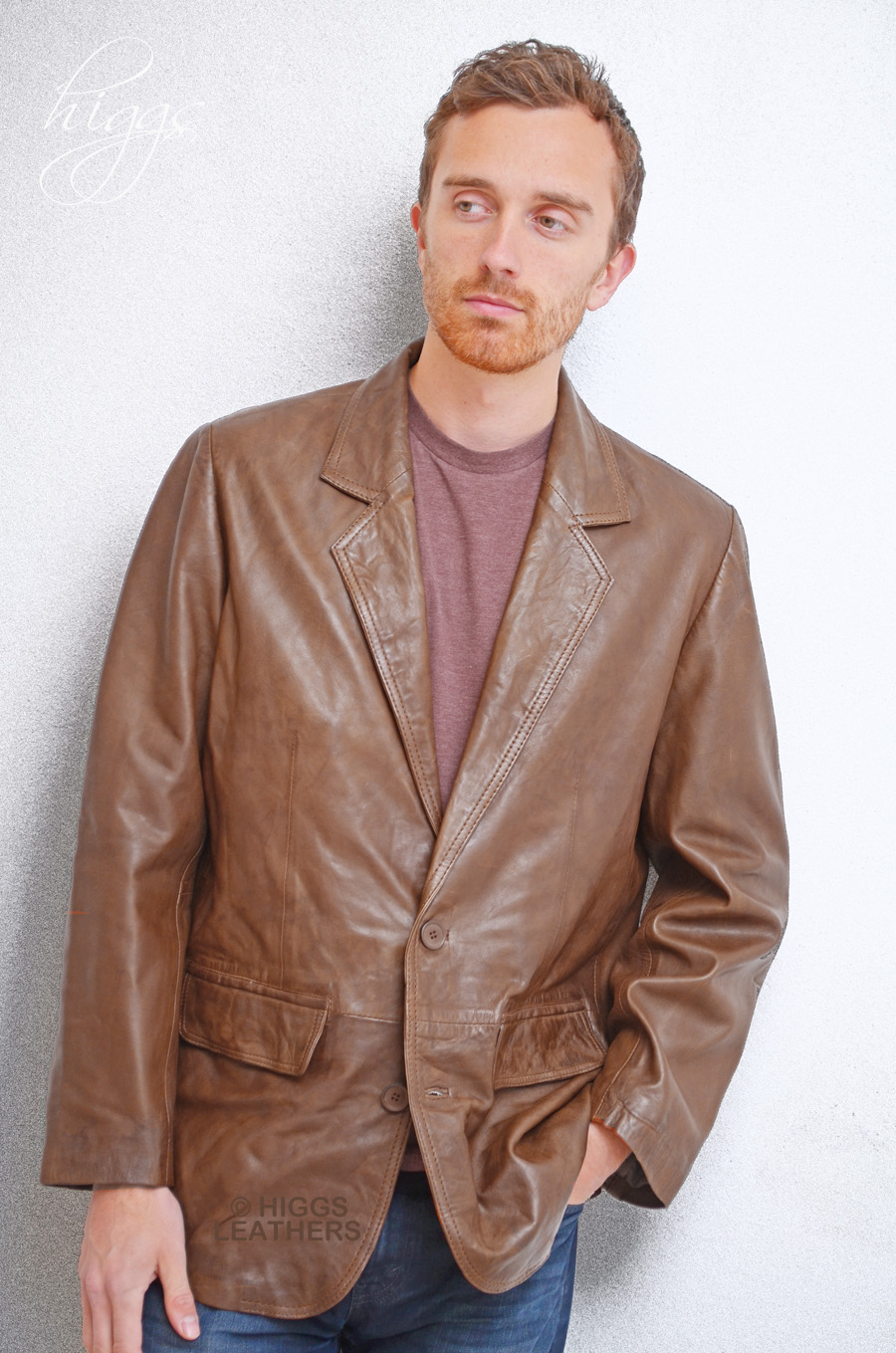 Higgs Leathers {NEW!}  Milano (men's retro leather suit jackets) From our selection of leather Retro jackets for men!