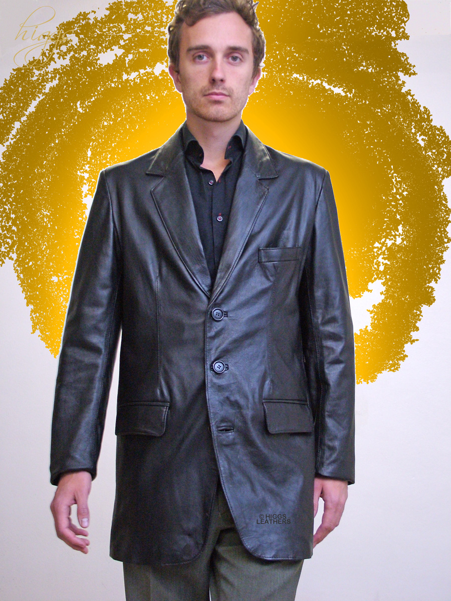 Higgs Leathers {NEW!}  Milos (men's extra long Leather Blazer jackets) From  our selection of men's Blazer style leather jackets!