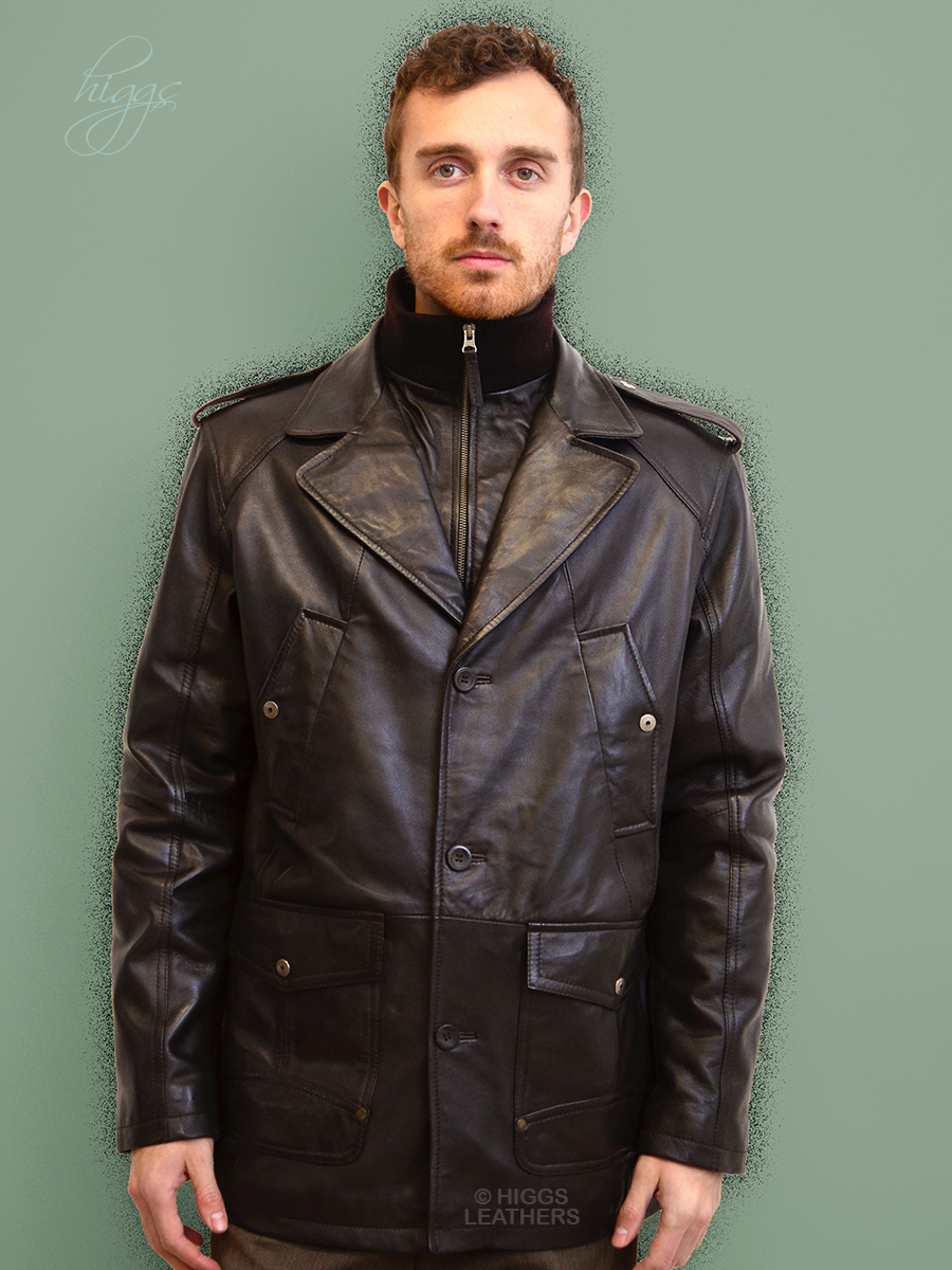 Higgs Leathers {NEW!}  Milton (Dark Brown Leather Parka Coats for men)