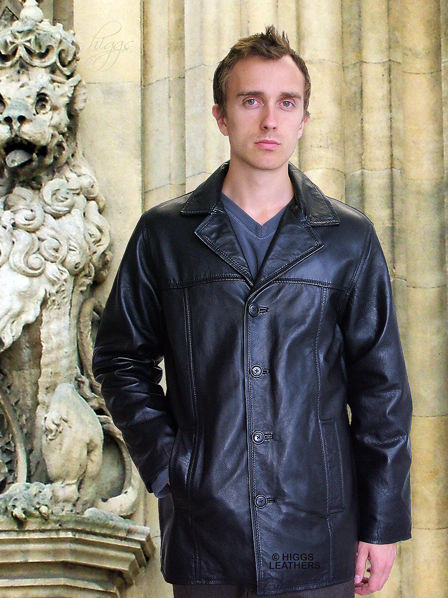 Higgs Leathers {LAST FEW!}  Mitch (mens long black leather jackets)