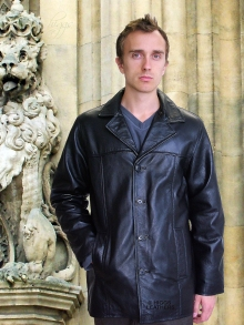 Higgs Leathers LAST FEW!  Mitch (mens long black leather jackets)