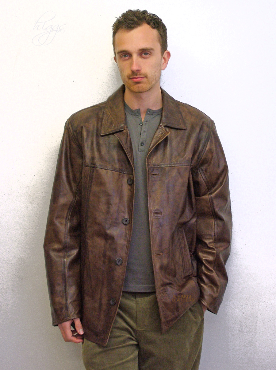 Higgs Leathers {FEW ONLY!}  Mitch (men's long Brown Leather jackets)
