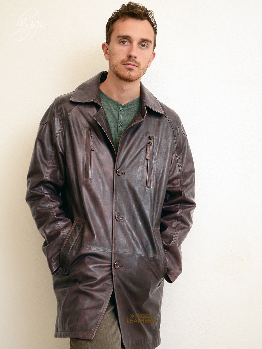 Higgs Leathers {FEW ONLY SAVE £100!}  Phil  (men's antique tan long leather jacket)