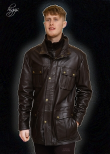 Higgs Leathers NEW!  Glendale (men's Brown Leather Parka)